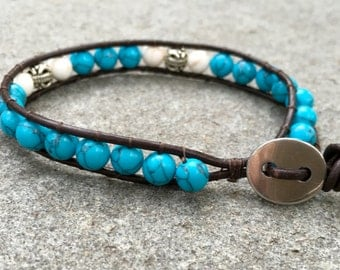Turquoise and Silver Leather Single Wrap Bracelet