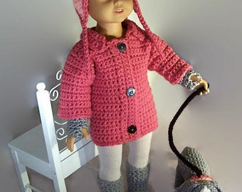 """5 Piece 'Walking the Dog' Rose Pink Coat with Grey and Peach Accessory Ensemble, Complete with PUPPY, for 18"""" Fashion Doll - FREE SHIPPING"""