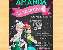 Personalized Frozen birthday party invitations, Elsa and Anna Frozen birthday party, Disney Frozen Birthday Party Instant Download