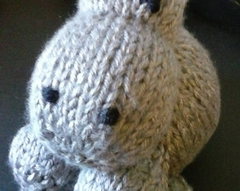 Hand Knit Stuffy Hippo