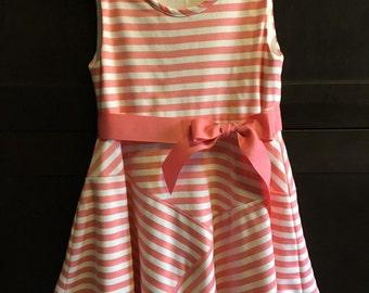 Abigail dress in pink striped knit fabric