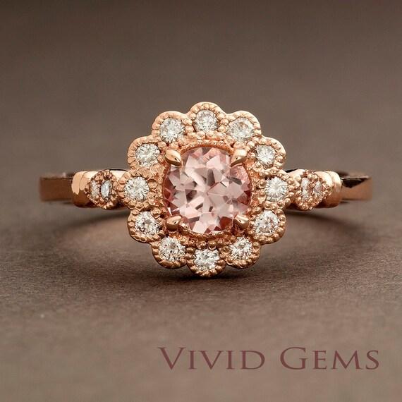 Morganite Rose Gold Ring Flower Engagement Ring By