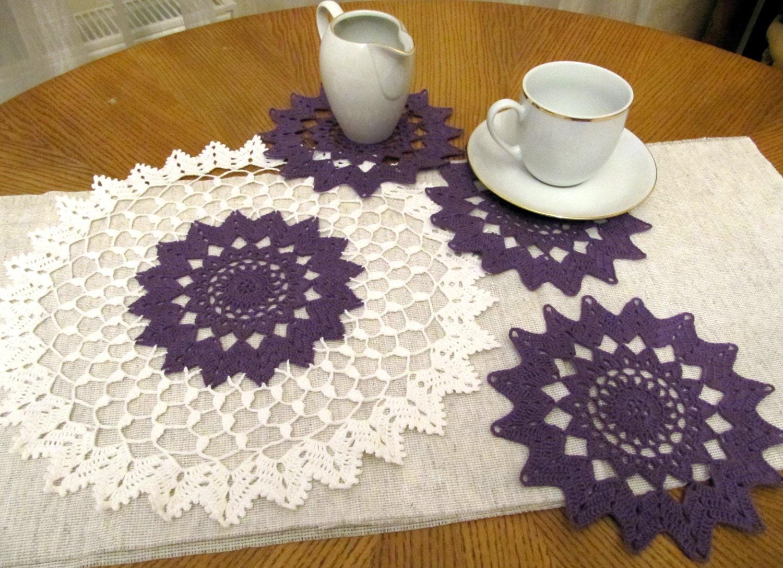 Crochet purple doily set of 4 pcs crochet small doily table - Set de table crochet ...