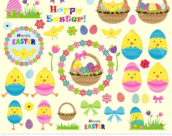 Happy Easter Clip Art, Easter Basket Chicken Eggs Clipart, Easter Digital Download Vector Clipart