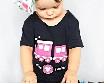 Girl Train Shirt, Pink Train, Girl Train Party, Train for Girls, Train Party, Train, Train Shirt, Girls T Shirt, Girls Gift, Train Clothing