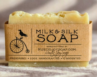 Milk&Silk Soap -  Rustic Soap,All Natural Soap,Handmade Soap,milk,silk,Fragrance Free Soap