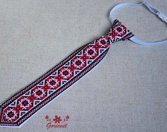 Boys tie red black holiday tie gift for Kids gifts for baby birthday gift for brother Ukrainian gift accessories folk art hand embroidered