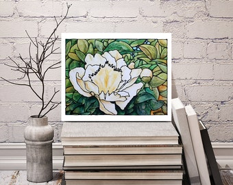 White Flower Print - Abstract Peony Flower Art - Floral Wall Hanging - Bedroom Art Decor - 8 x 10 inch - Signed by Artist Kathy Lycka