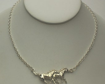 Horse Equine Necklace Wild Mustangs Pendant Running Free in Solid Sterling Silver