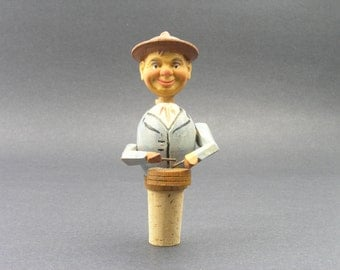 Vintage Wooden Bottle Stopper - German Drummer