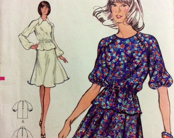 1970s raglan sleeve top and flared skirt Vogue 8482 Uncut vintage sewing pattern Bust 34 Waist 26.5 Hip 28 70s boho style Suitable for knits