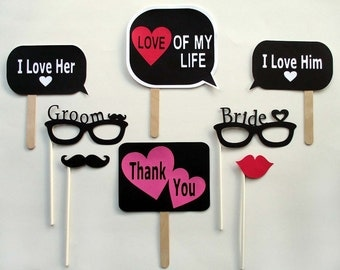 Wedding Photo Booth Props - Bride & Groom Photobooth Props - Wedding Party Photo Props - Glasses - Lip - Mustache - Black and Red -Set of 8