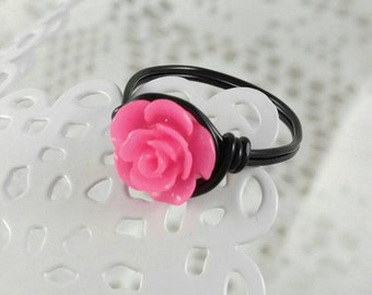 Hot Pink Rose Ring, Minnie Mouse Ring, Custom Rose Ring, Disneyland Ring, Rose Statement Ring, Non Tarnish Ring, Coupon Code for 10%off
