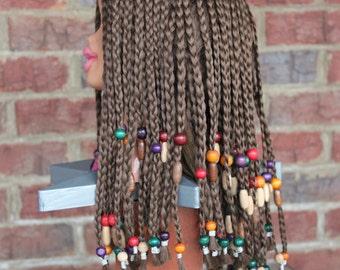 """Vintage Braided Beaded Brown Cornroll Braids Wig ~~ Bo Derek """"10"""", Courtney Stodden, Cleopatra"""