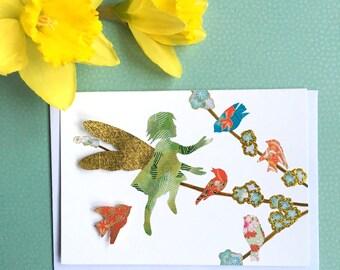 Fairy card - bird card - flower card - colorful card - tree card - kids card - cute birthday card - animal love card - girls birthday card