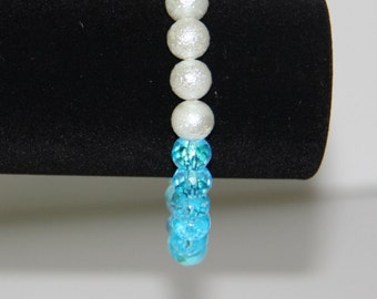 Blue Crystal Snow White Sparkle Rosary Bracelet