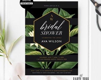 Bridal Shower Invitation Printable , Bridal Shower Invite , Black Stripes and Leaves Bridal Shower Invite  , 5x7 , A6 , Leaves Bridal Shower