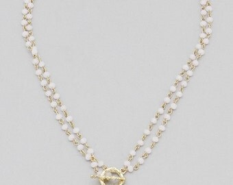 Semi Precious Stone Teardrop Necklace - Soft Pink & White
