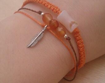 Set of three bracelets with agates and feathers in orange / Set bracelets / set amulet / Bracelets bracelets lucky.