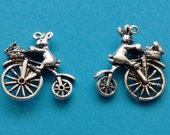 7 Bunny Rabbit on Bike Charms Silver Bicycle Charm with Bunny - CS2256