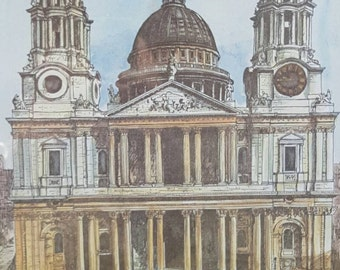 Signed Vintage Framed St. Paul's Cathedral Art Print by B. Smith - London Attraction