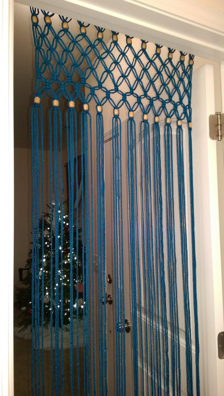 Boho handcrafted macrame turquoise door curtain