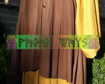 Pagan fantasy dress - yellow / ocher dress and brown jacket with bronze buttons - bohemian hippie Viking folk fantasy festival alternative