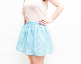 Turquoise Gingham Skirt