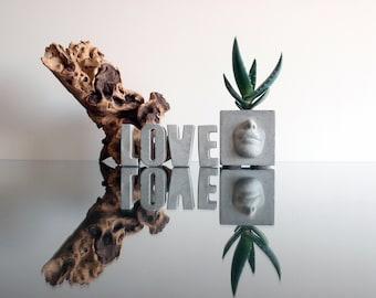 Concrete Planter with letters LOVE - Home Decor, Concrete pot, Cactus planter, Flower pot, Urban home decor modern planter