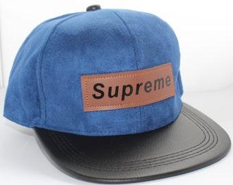 SUPREME   Blue Suede Snapback Cap