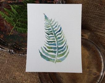 Fern Watercolor, Botanical Painting, West Coast Art