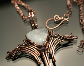 Lunia - copper and moonstone pendant with chain