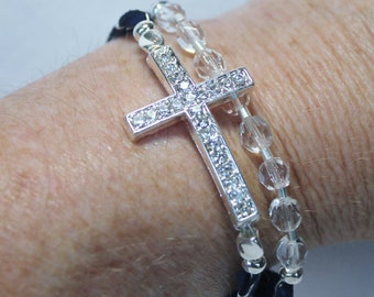 Crystal Sideways Cross with Crystal Beads Leather Bracelet