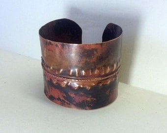 cuff bracelet, handmade, copper, hammered, forged, fold formed, dark patina