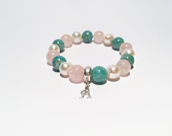 Rose quartz, Amazonite gemstone and freshwater pearl bracelet with Sterling silver charm