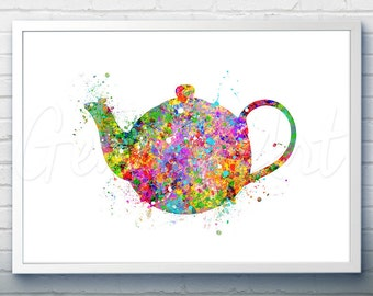Kitchen Teapot Watercolor Art Print  - Teapot Watercolor Art Painting - Teapot Poster - Kitchen Decor - Home Decor - House Warming Gift [4]