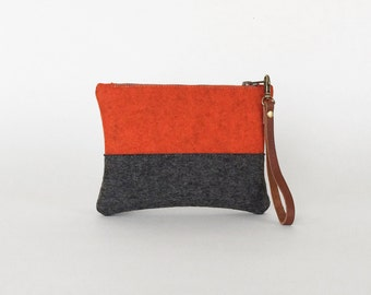 Orange and Gray Wool Felt Zipper Wristlet | Felt Pouch