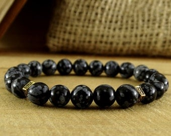 Men's Jewelry Obsidian Bracelet Stone Jewelry Men Bracelet Mens Gift For Him Black Bracelet Gemstone Jewelry Men Bead Bracelet Black Jewelry