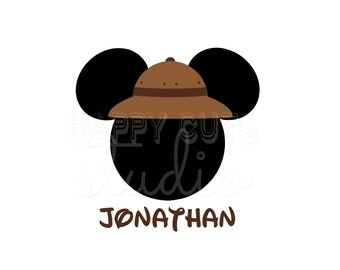Personalized Safari Hat Animal Kingdom Mickey Mouse Matching Family Father Son  Disney World  Disney Iron On Decal Vinyl for Shirt 042