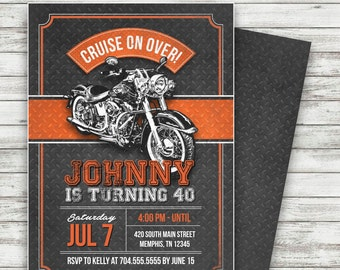 Motorcycle Biker Birthday Invitation, Vintage Motorcycle Birthday, Motorcycle Invite, Harley Davidson Birthday - Printable
