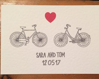 A bicycle made for two - Save the date and engagement announcement for a bike lover