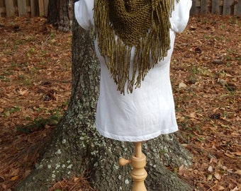 Warm Knit Fringe Scarf with a Wooden Button in Olive Green