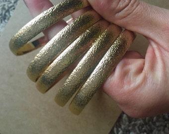 Set of 5 Gold Tone Bangle Bracelets