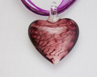 Purple Lampwork Heart Pendant
