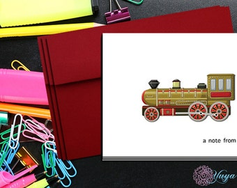 Personalized Antique Train Stationery / Custom boy Stationery / Train Stationery Set / Custom kid Note Cards/ Set of 12 kids thank you cards