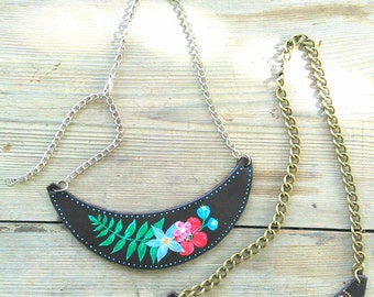 Romantic/ethnic leather necklace. Hand painted. Leather necklace. Hand painted.
