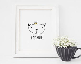 Cats Rule Black White Minimalistic Printable Wall Art Print