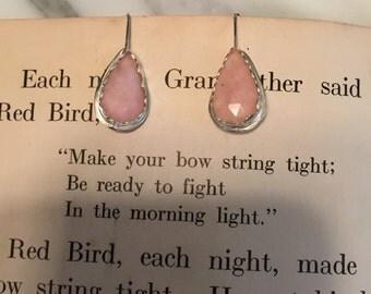 Pink Opal Sterling Silver Earrings