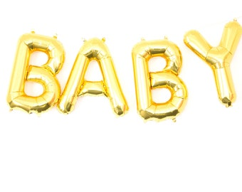 """BABY Gold Foil Letter Balloon Banner - Gold Foil Balloon Letters Combo """"BABY"""" (16""""/41cm)"""