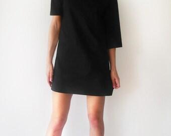 Asymmetric Black Jersey Women's Dress/Minimalist Stylish Black Tunic/Unique Little Black Dress